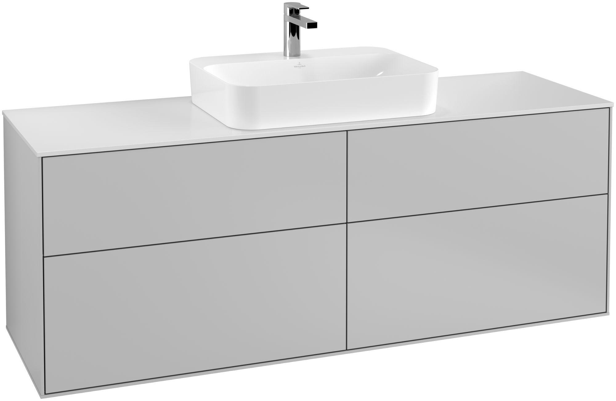 Villeroy & Boch Finion G44 Waschtischunterschrank 4 Auszüge Waschtisch mittig LED-Beleuchtung B:160xH:60,3xT:50,1cm Front, Korpus: Light Grey Matt, Glasplatte: White Matt G44100GJ