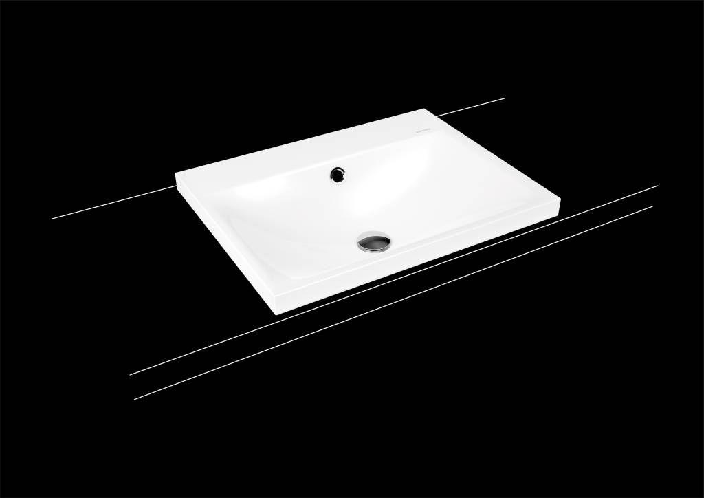 Kaldewei Silenio Aufsatzwaschtisch 3040 B:60xT:46cm mit Überlauf mit 3 Hahnlöchern weiß mit Perl-Effekt 903906033001
