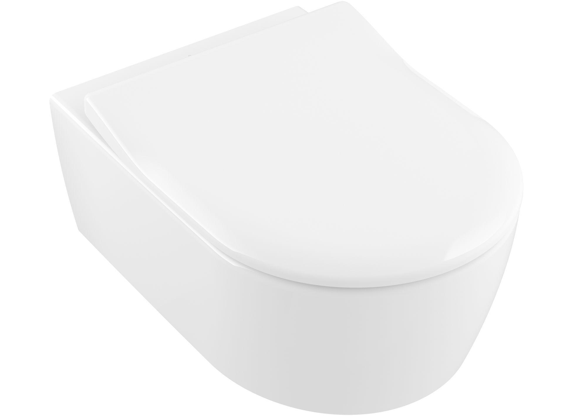 Villeroy & Boch Avento Combi-Pack mit Wand-Tiefspül-WC DirectFlush mit offenem Spülrand L:53xB:37cm weiß mit CeramicPlus mit SlimSeat mit Absenkautomatik 5656RSR1