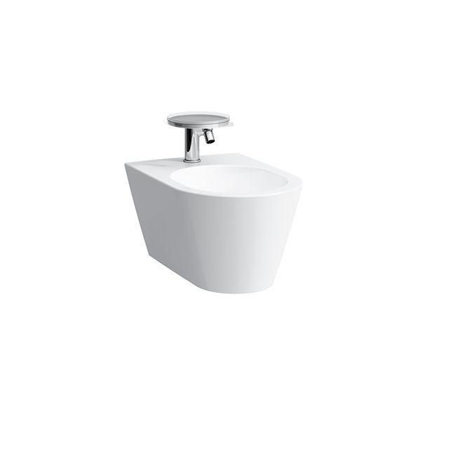 Laufen Kartell by Laufen Wand-Bidet L:54,5xB:37xH:29cm  1 Hahnloch mittig mit Überlaufventil Anschluss innen weiß mit CleanCoat LCC H8303314003021