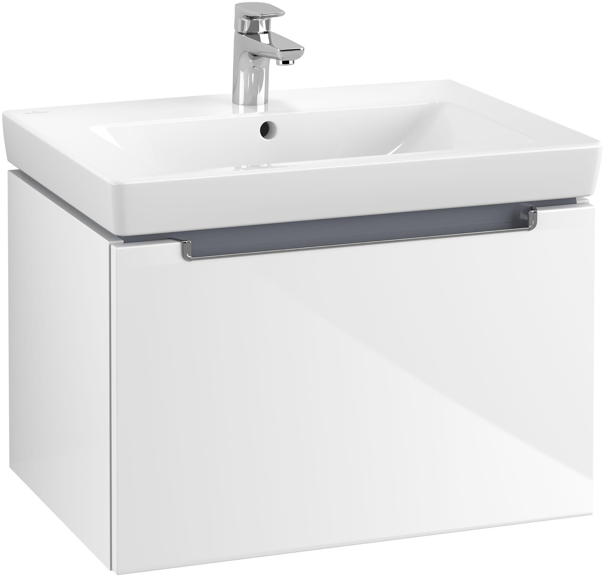 Villeroy & Boch Subway 2.0 Waschtischunterschrank 1 Auszug B:637xT:454xH:420mm glossy weiß Griffe chrom A68810DH