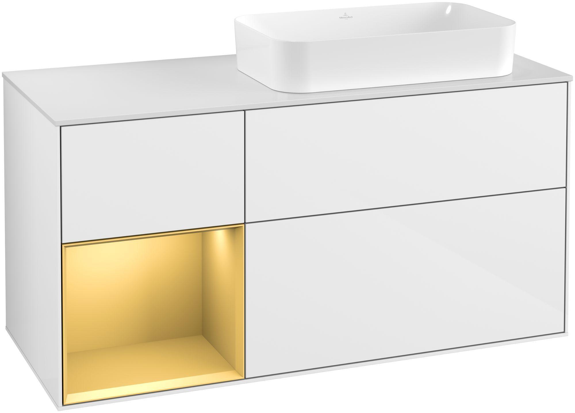 Villeroy & Boch Finion F27 Waschtischunterschrank mit Regalelement 3 Auszüge Waschtisch rechts LED-Beleuchtung B:120xH:60,3xT:50,1cm Front, Korpus: Glossy White Lack, Regal: Gold Matt, Glasplatte: White Matt F271HFGF
