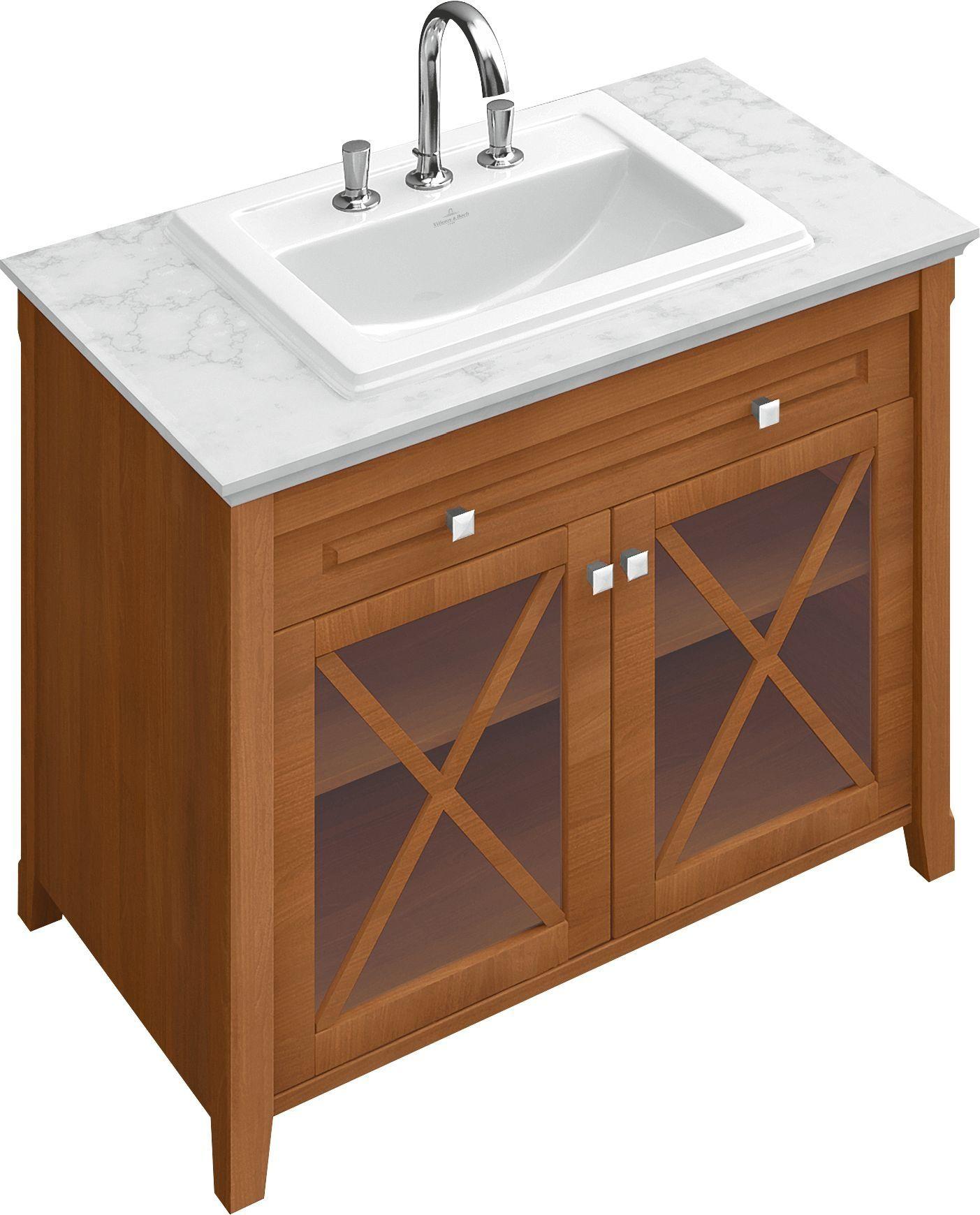 Villeroy & Boch Hommage Einbauwaschtisch B:63xT:52,5cm 3 Hahnlöcher mit Überlauf weiß mit Ceramicplus 7102A1R1