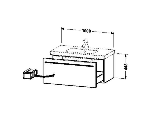 Duravit X-Large Waschtischunterschrank wandhängend B:100xH:44,8xT:45,8cm 1 Auszug weiß hochglanz XL604902222