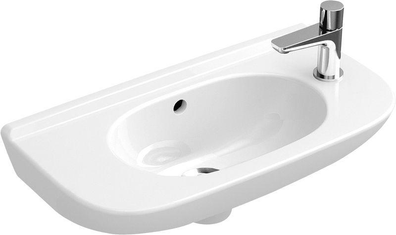 Villeroy & Boch O.novo Handwaschbecken Compact mit Überlauf 1 Hahnloch links B:50xT:25cm mit Überlauf 1 Hahnloch links weiß 53615401