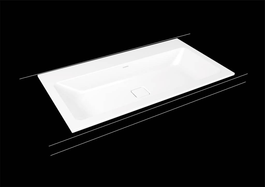 Kaldewei Cono Einbauwaschtisch 3081 B:90xT:50cm ohne Überlauf mit 3 Hahnlöchern weiß mit Perl-Effekt 901706033001