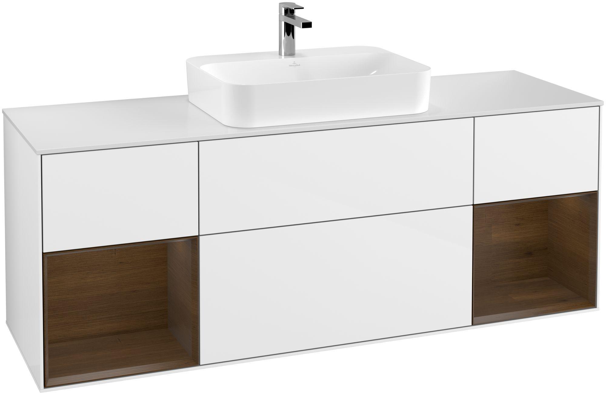 Villeroy & Boch Finion G45 Waschtischunterschrank mit Regalelement 4 Auszüge Waschtisch mittig LED-Beleuchtung B:160xH:60,3xT:50,1cm Front, Korpus: Glossy White Lack, Regal: Walnut Veneer, Glasplatte: White Matt G451GNGF
