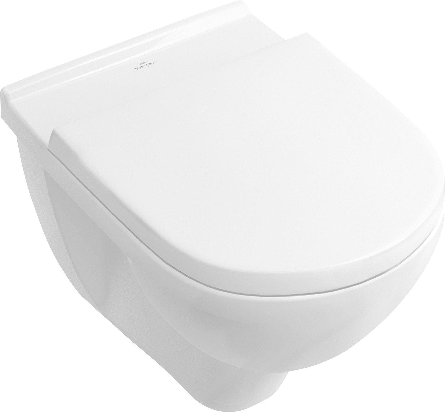 Villeroy & Boch O.novo Combi-Pack mit Wand-Tiefspül-WC DirectFlush mit offenem Spülrand L:56xB:36cm Weiß Alpin mit WC-Sitz 5660HR01