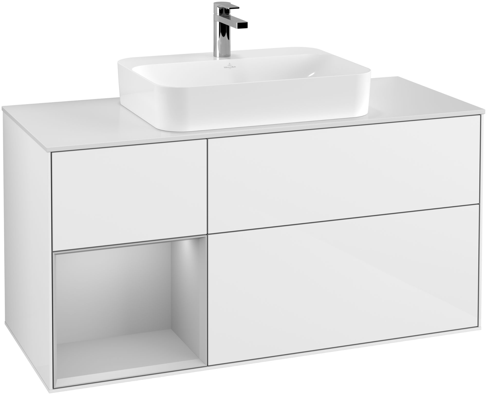 Villeroy & Boch Finion F41 Waschtischunterschrank mit Regalelement 3 Auszüge für WT mittig LED-Beleuchtung B:120xH:60,3xT:50,1cm Front, Korpus: Glossy White Lack, Regal: Light Grey Matt, Glasplatte: White Matt F411GJGF