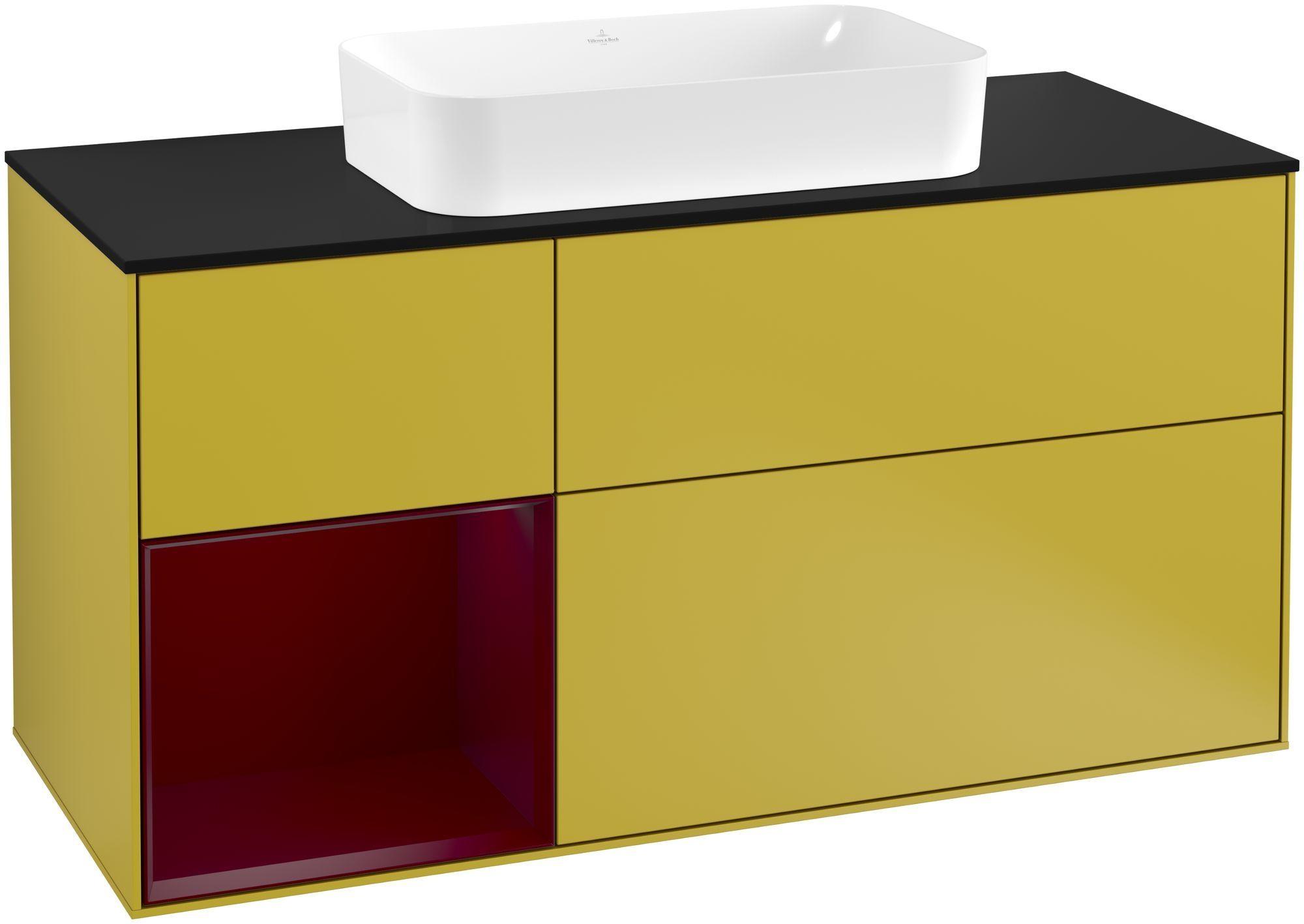Villeroy & Boch Finion G29 Waschtischunterschrank mit Regalelement 3 Auszüge Waschtisch mittig LED-Beleuchtung B:120xH:60,3xT:50,1cm Front, Korpus: Sun, Regal: Peony, Glasplatte: Black Matt G292HBHE