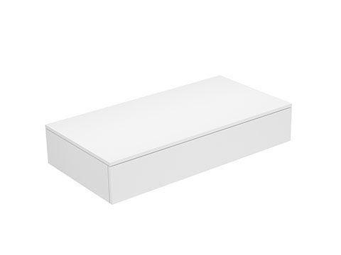 Keuco Edition 400 Sideboard wandhängend 1 Frontauszug 1050 x 199 x 535 mm weiß/Glas titan satiniert 31750770000