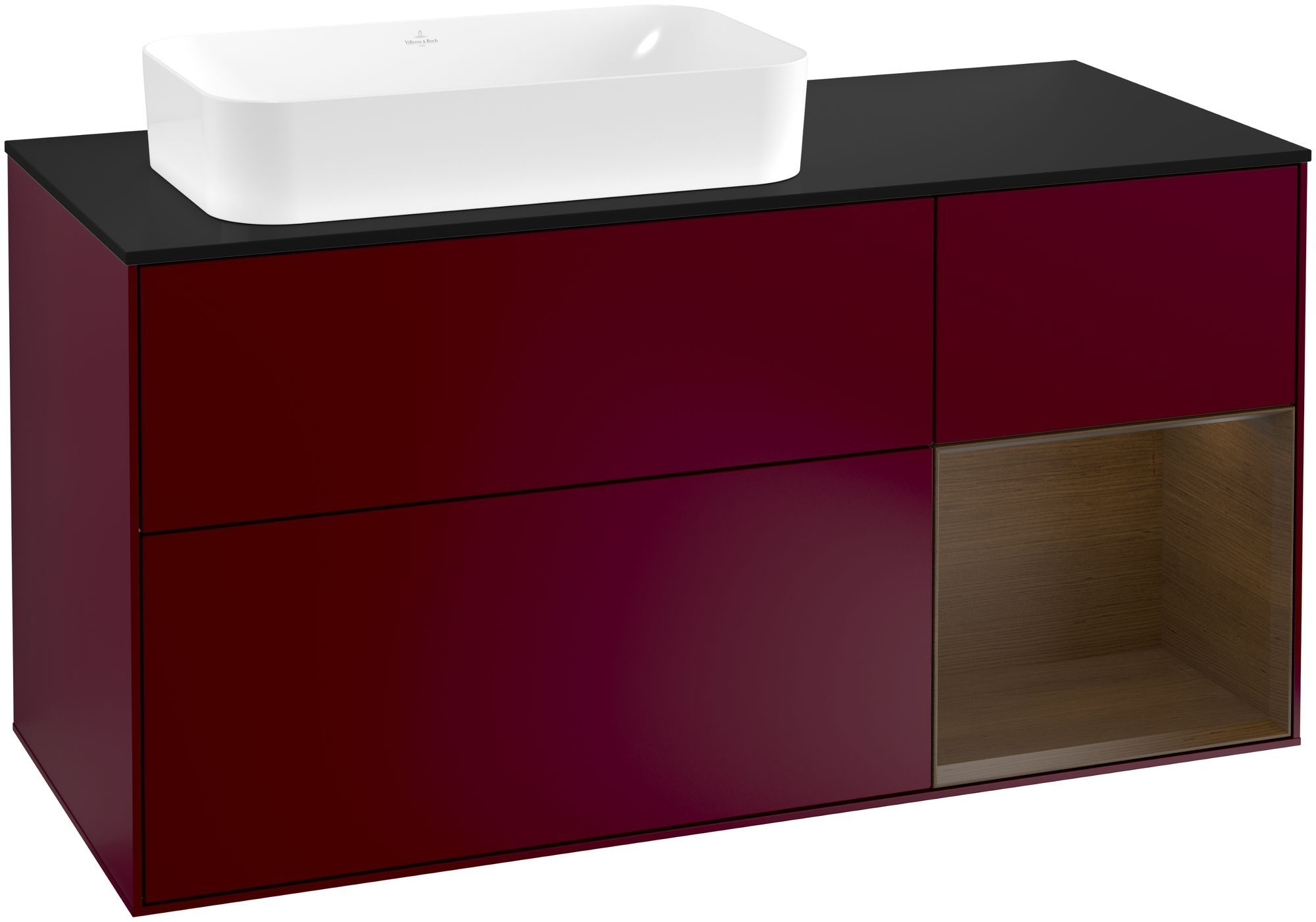 Villeroy & Boch Finion G28 Waschtischunterschrank mit Regalelement 3 Auszüge Waschtisch links LED-Beleuchtung B:120xH:60,3xT:50,1cm Front, Korpus: Peony, Regal: Walnut Veneer, Glasplatte: Black Matt G282GNHB