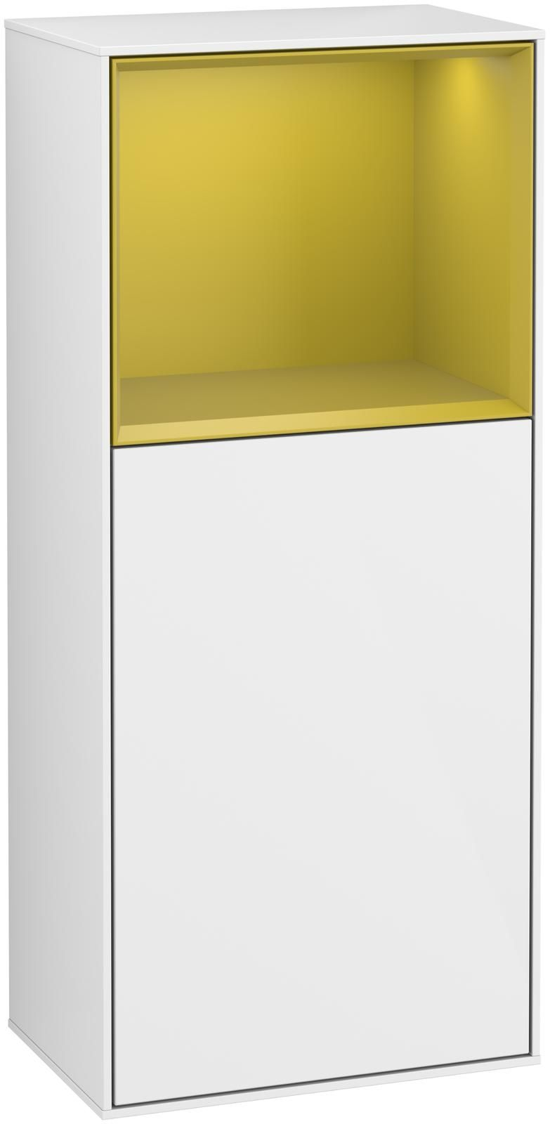 Villeroy & Boch Finion F50 Seitenschrank mit Regalelement 1 Tür Anschlag links LED-Beleuchtung B:41,8xH:93,6xT:27cm Front, Korpus: Glossy White Lack, Regal: Sun F500HEGF