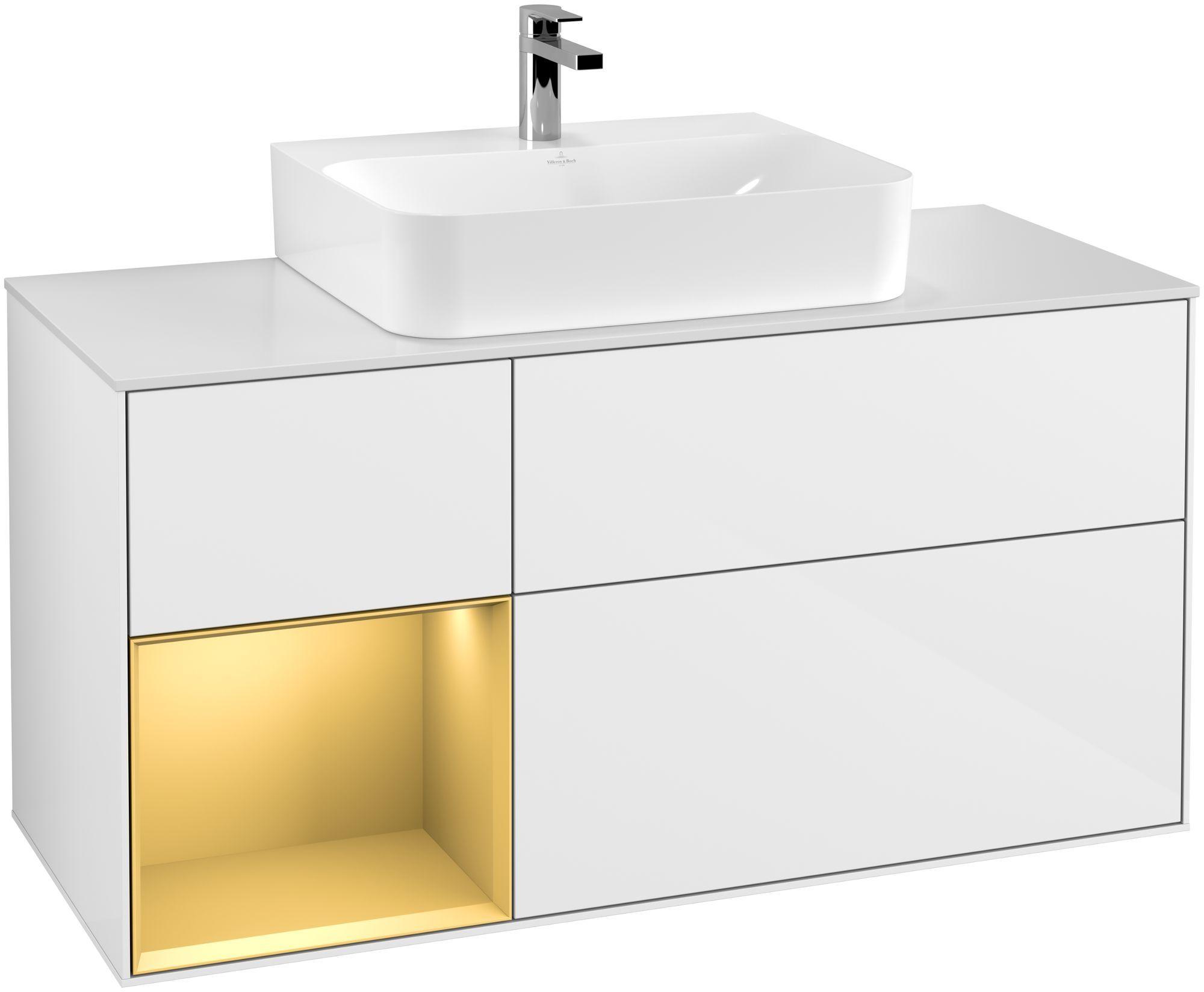 Villeroy & Boch Finion F16 Waschtischunterschrank mit Regalelement 3 Auszüge Waschtisch mittig LED-Beleuchtung B:120xH:60,3xT:50,1cm Front, Korpus: Glossy White Lack, Regal: Gold Matt, Glasplatte: White Matt F161HFGF