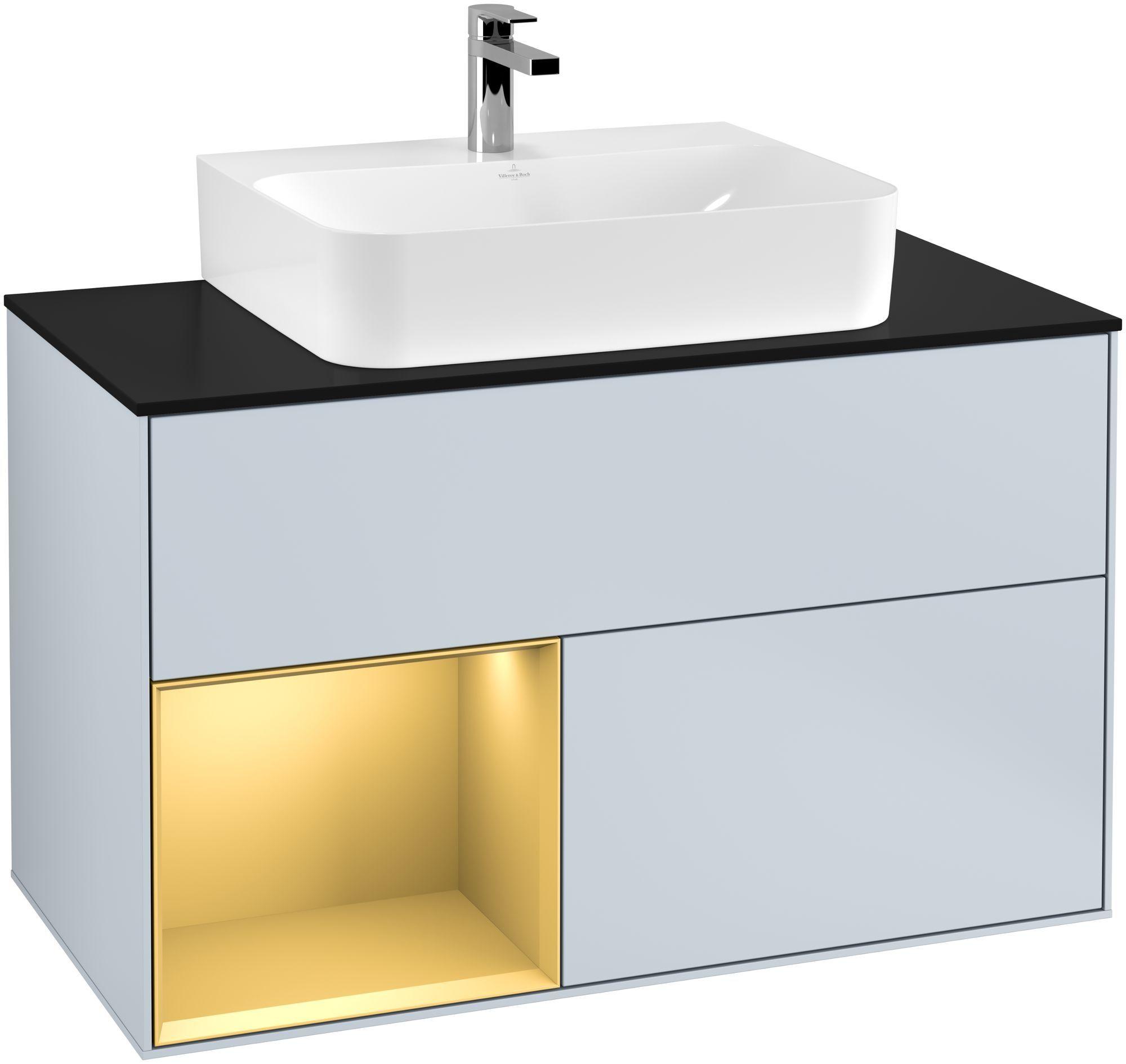 Villeroy & Boch Finion G11 Waschtischunterschrank mit Regalelement 2 Auszüge für WT mittig LED-Beleuchtung B:100xH:60,3xT:50,1cm Front, Korpus: Cloud, Regal: Gold Matt, Glasplatte: Black Matt G112HFHA