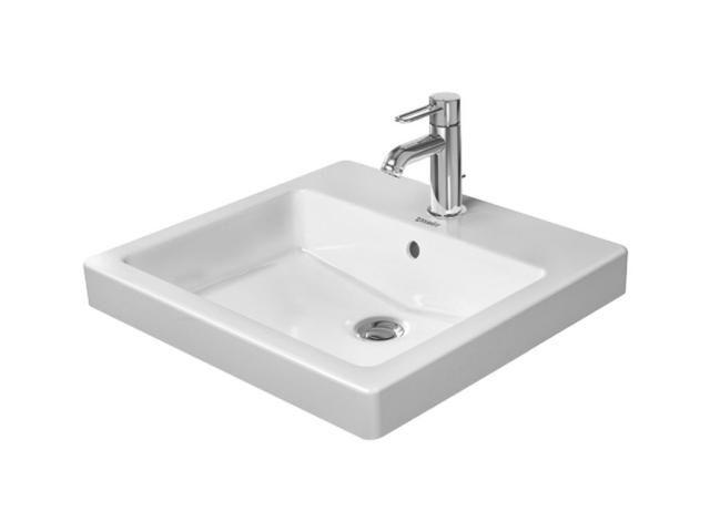 Duravit Vero Einbauwaschtisch B:50xT:46,5cm 1 Hahnloch mittig mit Überlauf weiß mit Wondergliss 03155000001