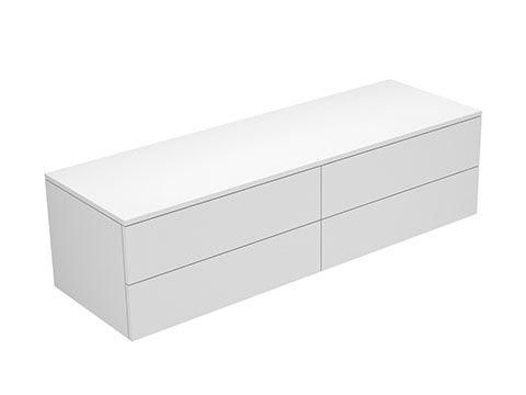 Keuco Edition 400 Sideboard wandhängend 4 Frontauszüge 1400 x 382 x 450 mm weiß hochglanz/Glas petrol klar 31766880001