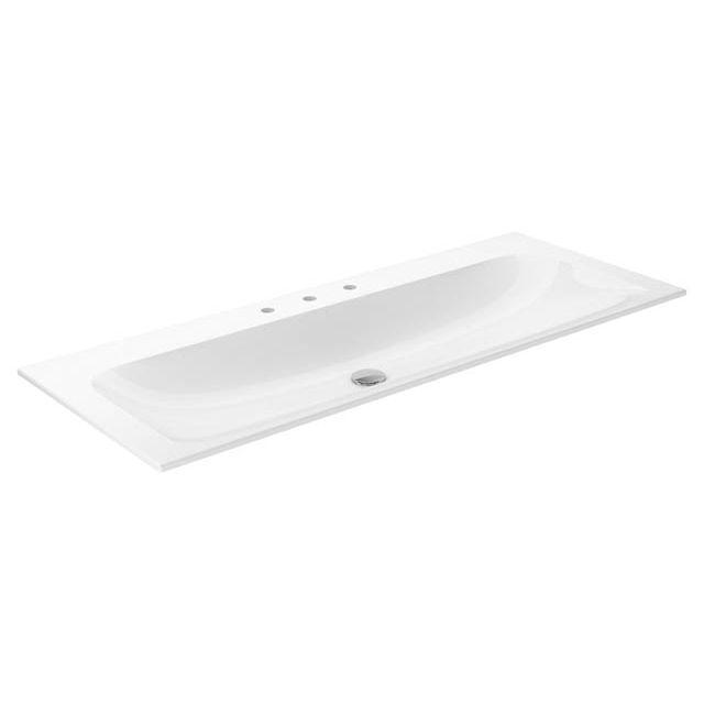 Keuco X-LINE Waschtisch B:120,5xT:49,3 cm mit 3 Hahnlöchern weiß mit CleanPlus 33180311203