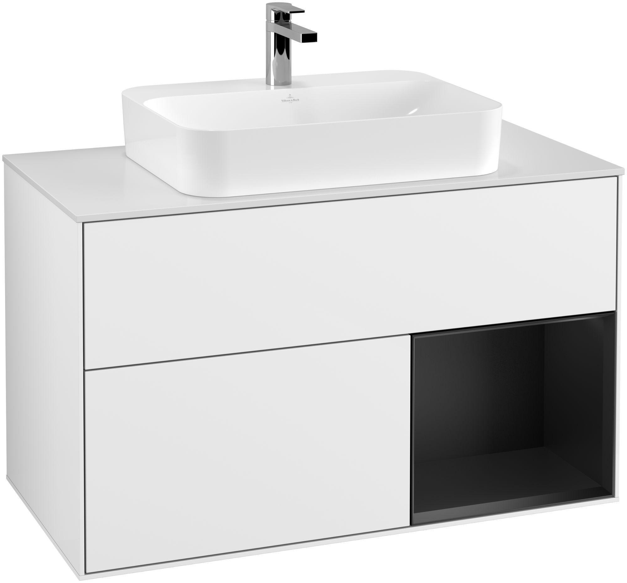 Villeroy & Boch Finion F37 Waschtischunterschrank mit Regalelement 2 Auszüge für WT mittig LED-Beleuchtung B:100xH:60,3xT:50,1cm Front, Korpus: Glossy White Lack, Regal: Black Matt Lacquer, Glasplatte: White Matt F371PDGF