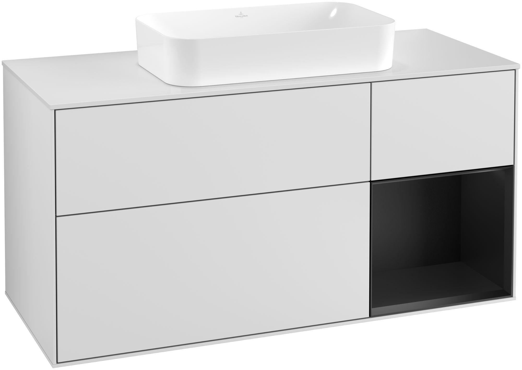 Villeroy & Boch Finion G30 Waschtischunterschrank mit Regalelement 3 Auszüge Waschtisch mittig LED-Beleuchtung B:120xH:60,3xT:50,1cm Front, Korpus: Weiß Matt Soft Grey, Regal: Black Matt Lacquer, Glasplatte: White Matt G301PDMT