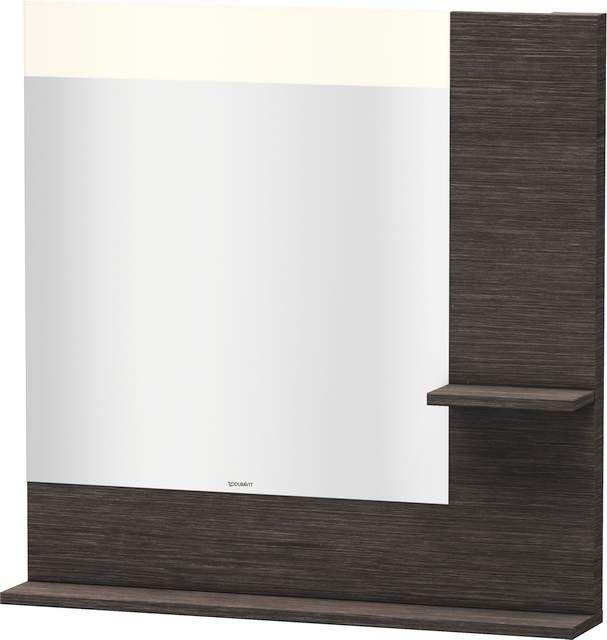 Duravit Vero Spiegel mit LED-Beleuchtung B:80xH:80xT:14,2cm mit Ablagen rechts und unten eiche dunkel gebürstet VE732107272