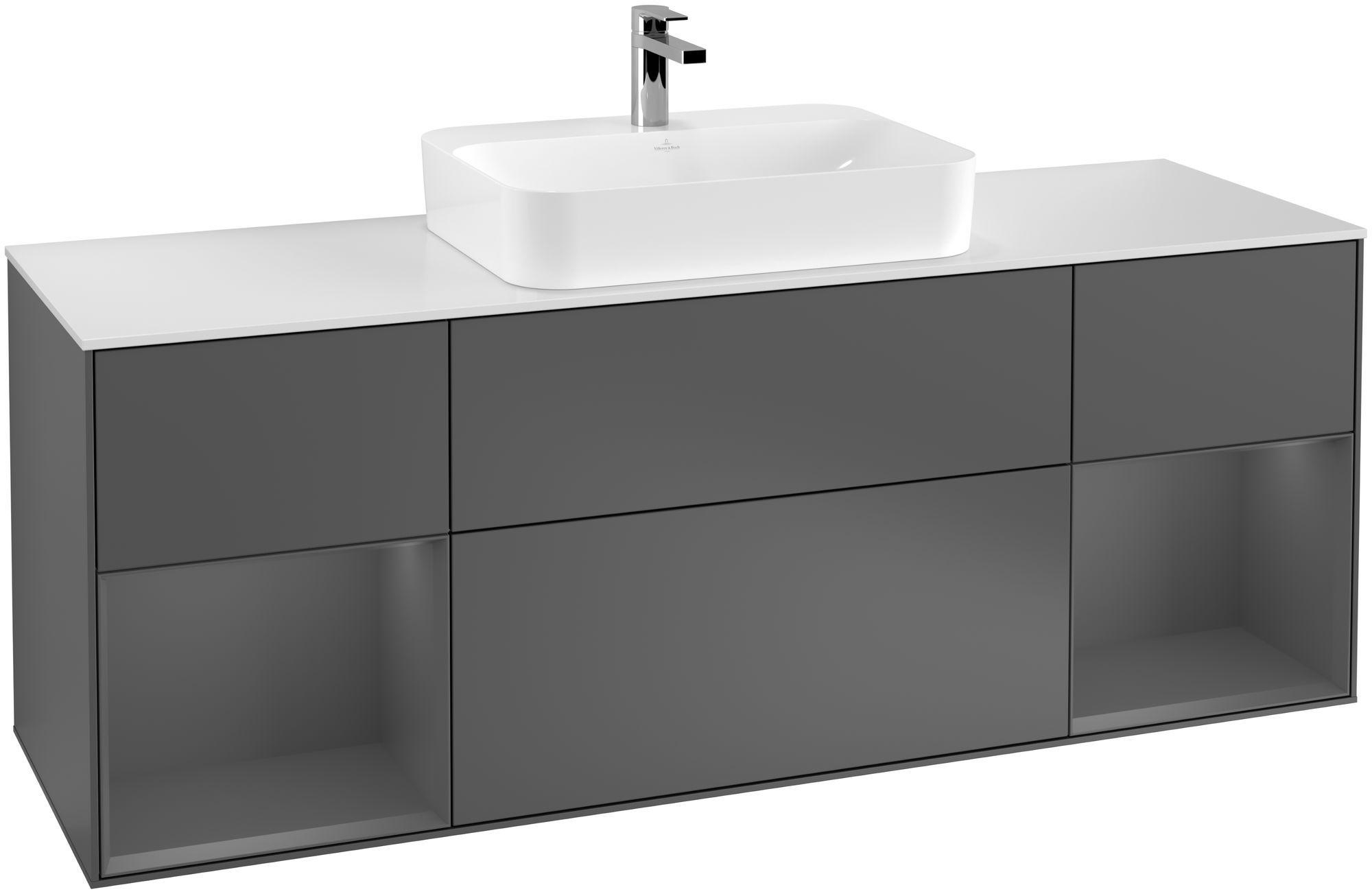 Villeroy & Boch Finion F45 Waschtischunterschrank mit Regalelement 4 Auszüge Waschtisch mittig LED-Beleuchtung B:160xH:60,3xT:50,1cm Front, Korpus: Anthracite Matt, Glasplatte: White Matt F451GKGK