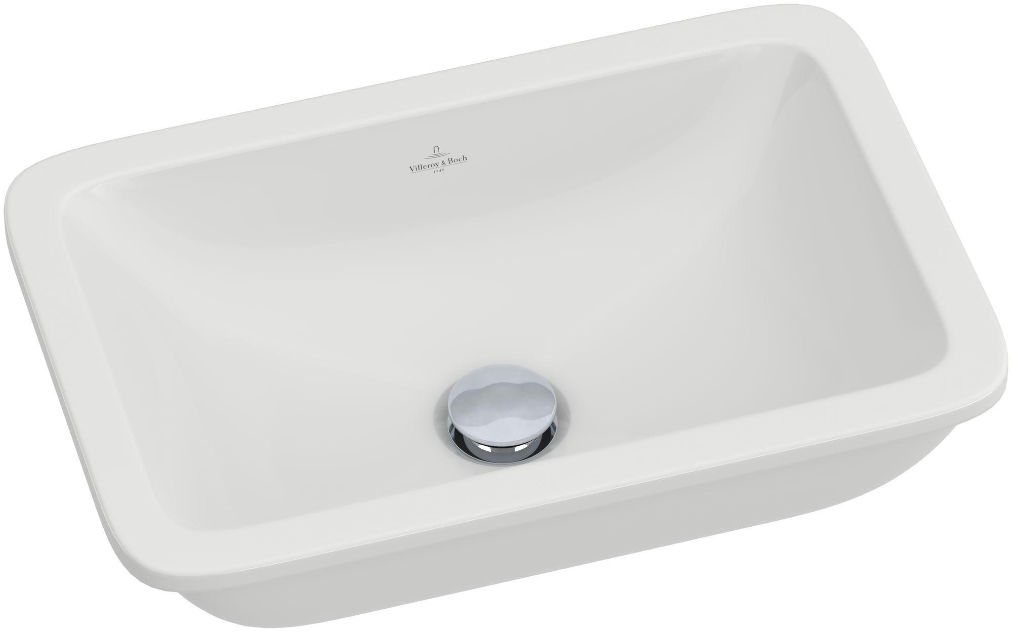 Villeroy & Boch Loop & Friends Unterbauwaschtisch B:45xT:28cm ohne Hahnloch ohne Überlauf weiß mit Ceramicplus 616311R1