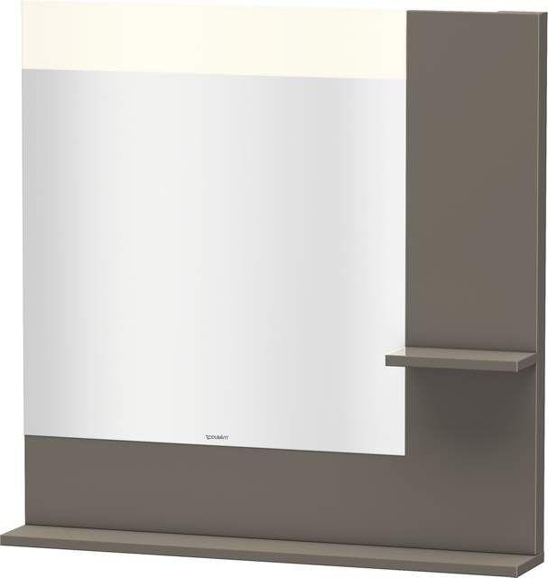 Duravit Vero Spiegel mit LED-Beleuchtung B:80xH:80xT:14,2cm mit Ablagen rechts und unten flannel grey hochglanz VE732108989