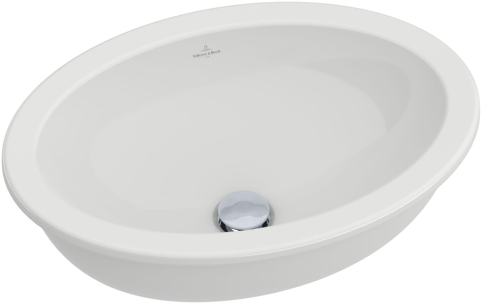 Villeroy & Boch Loop & Friends Unterbauwaschtisch B:48,5xT:32cm ohne Hahnloch mit Überlauf weiß mit Ceramicplus 616120R1