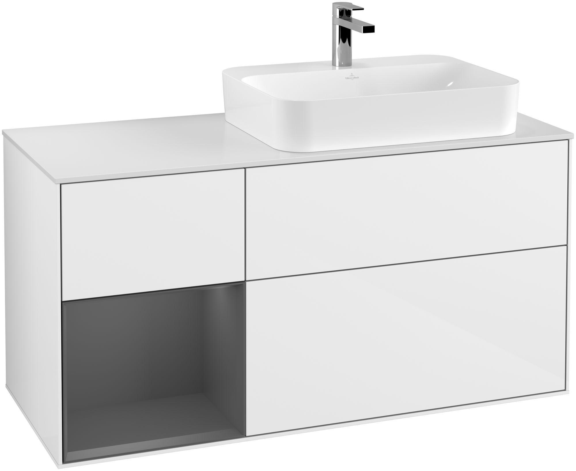 Villeroy & Boch Finion F39 Waschtischunterschrank mit Regalelement 3 Auszüge für WT rechts LED-Beleuchtung B:120xH:60,3xT:50,1cm Front, Korpus: Glossy White Lack, Regal: Anthracite Matt, Glasplatte: White Matt F391GKGF