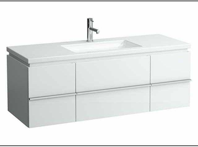 Laufen living square Waschtischunterschrank B:129,5cm T:47,5cm H:46cm 2 Türen 2 Schubladen weiß glänzend H4013120754751