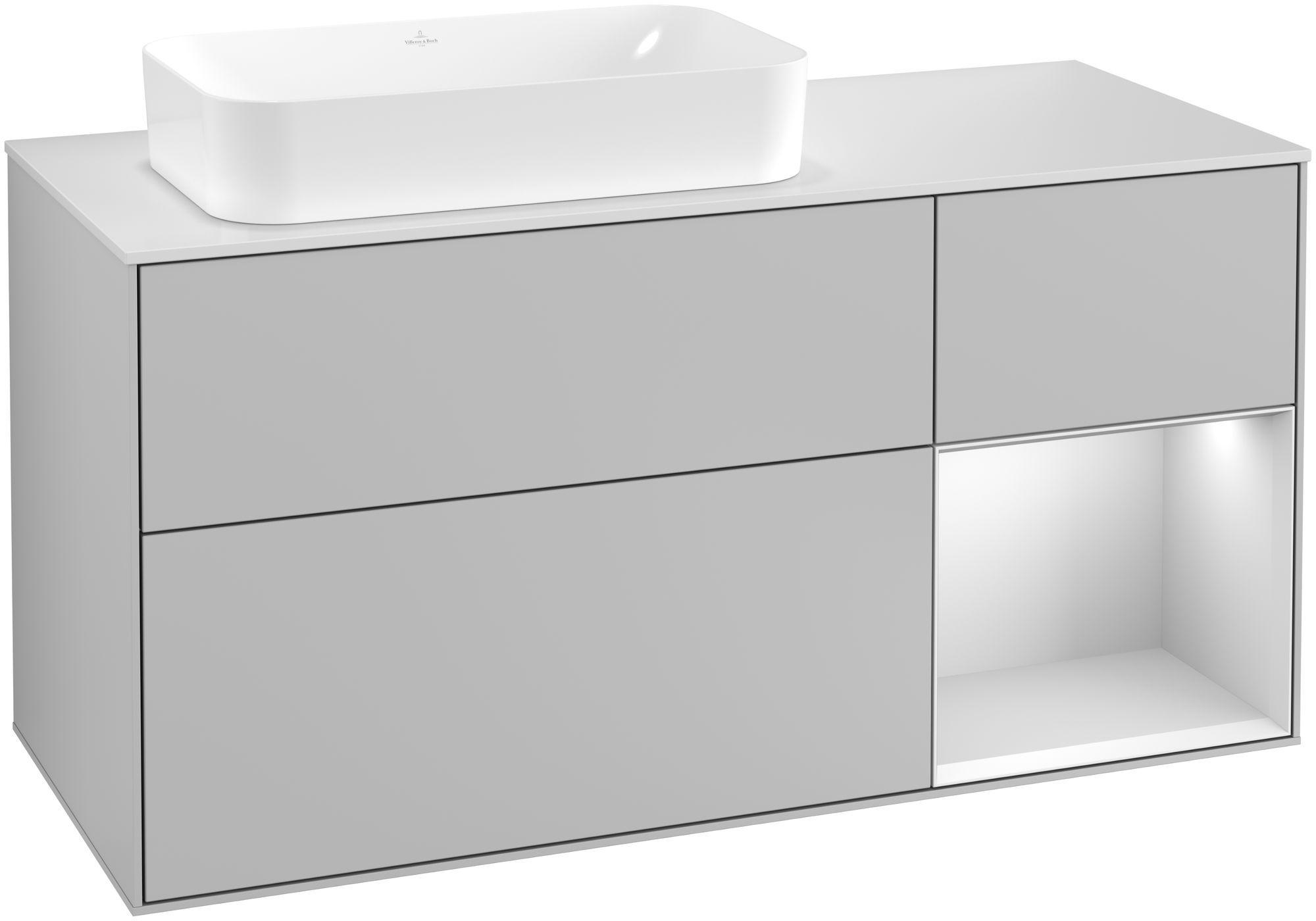 Villeroy & Boch Finion G28 Waschtischunterschrank mit Regalelement 3 Auszüge Waschtisch links LED-Beleuchtung B:120xH:60,3xT:50,1cm Front, Korpus: Light Grey Matt, Regal: Weiß Matt Soft Grey, Glasplatte: White Matt G281MTGJ