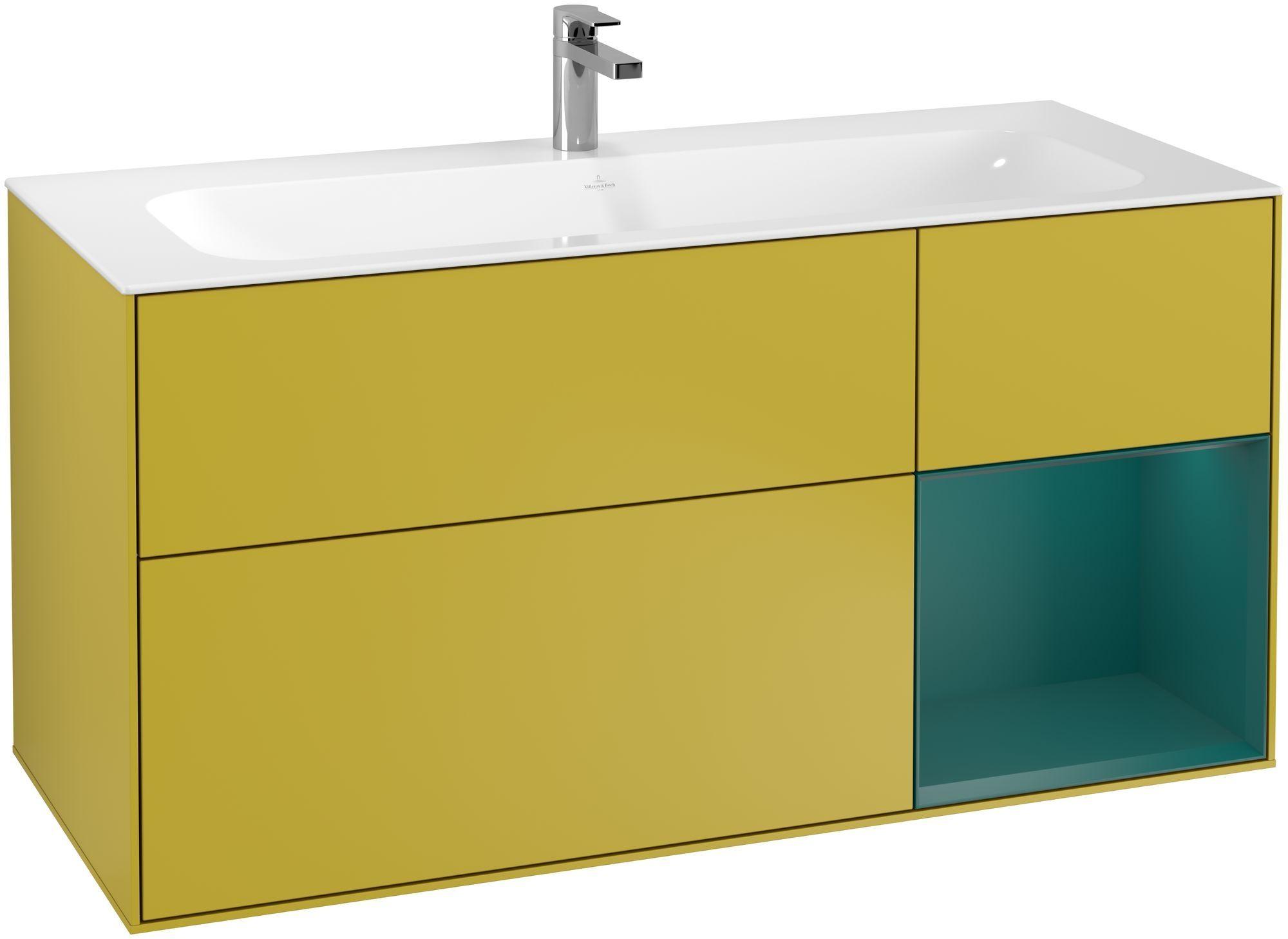 Villeroy & Boch Finion F07 Waschtischunterschrank mit Regalelement 3 Auszüge LED-Beleuchtung B:119,6xH:59,1xT:49,8cm Front, Korpus: Sun, Regal: Cedar F070GSHE