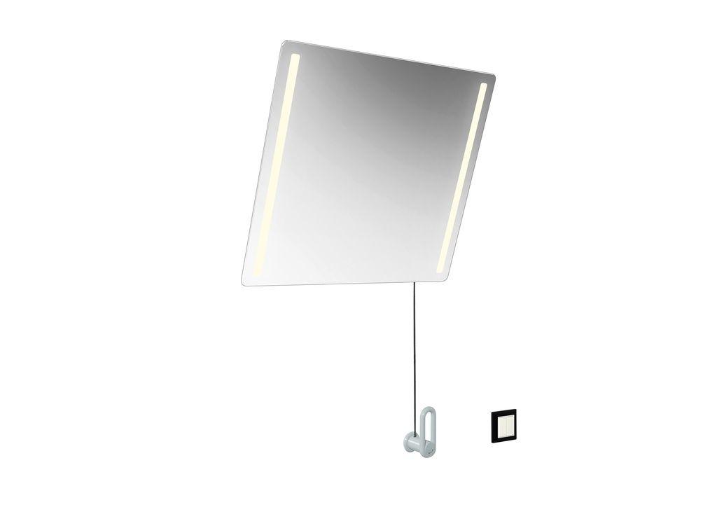 Hewi Serie 801 LED-Kippspiegel plus B:60xH:54cm mit einstellbarer LED-Beleuchtung links und rechts mit Splitterschutz reinweiß 801.01.401 99