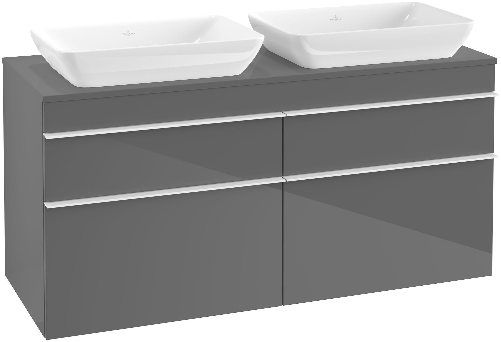 Villeroy & Boch Venticello Waschtischunterschrank 4 Auszüge B:1257xT:502xH:606mm glossy grey Griffe weiß A94402FP