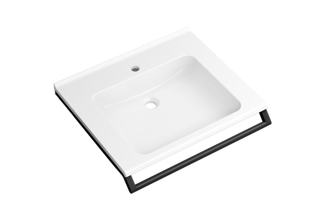 Hewi Waschtisch mit Haltegriff B:65xT:55cm unterfahrbar mit Schwallkante ohne Überlauf weiß 950.19.070 DC