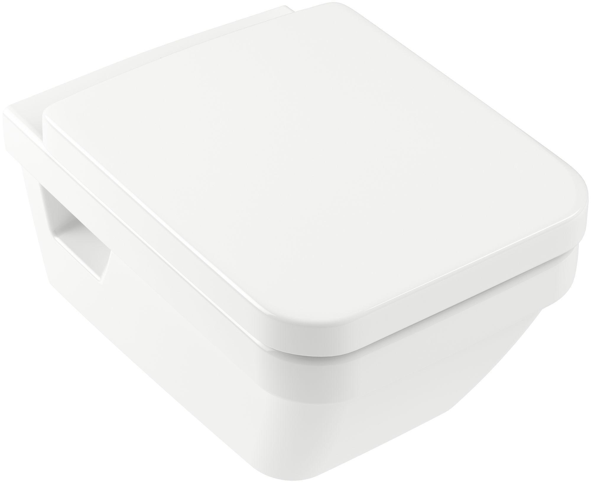 Villeroy & Boch Architectura Combi-Pack mit Wand-Tiefspül-WC DirectFlush mit offenem Spülrand L:56xB:37cm weiß mit CeramicPlus mit WC-Sitz 5685HRR1