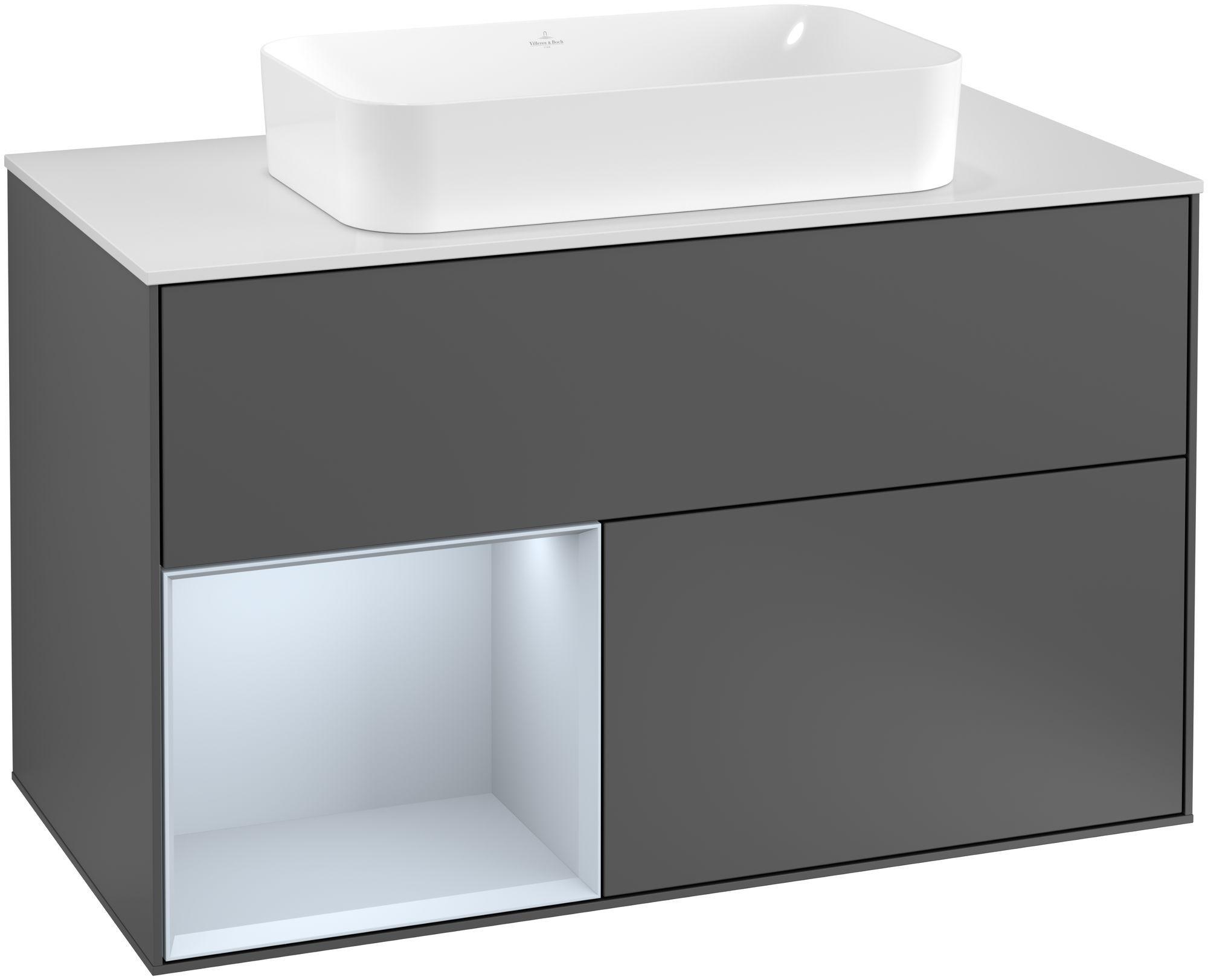 Villeroy & Boch Finion G24 Waschtischunterschrank mit Regalelement 2 Auszüge für WT mittig LED-Beleuchtung B:100xH:60,3xT:50,1cm Front, Korpus: Anthracite Matt, Regal: Cloud, Glasplatte: White Matt G241HAGK