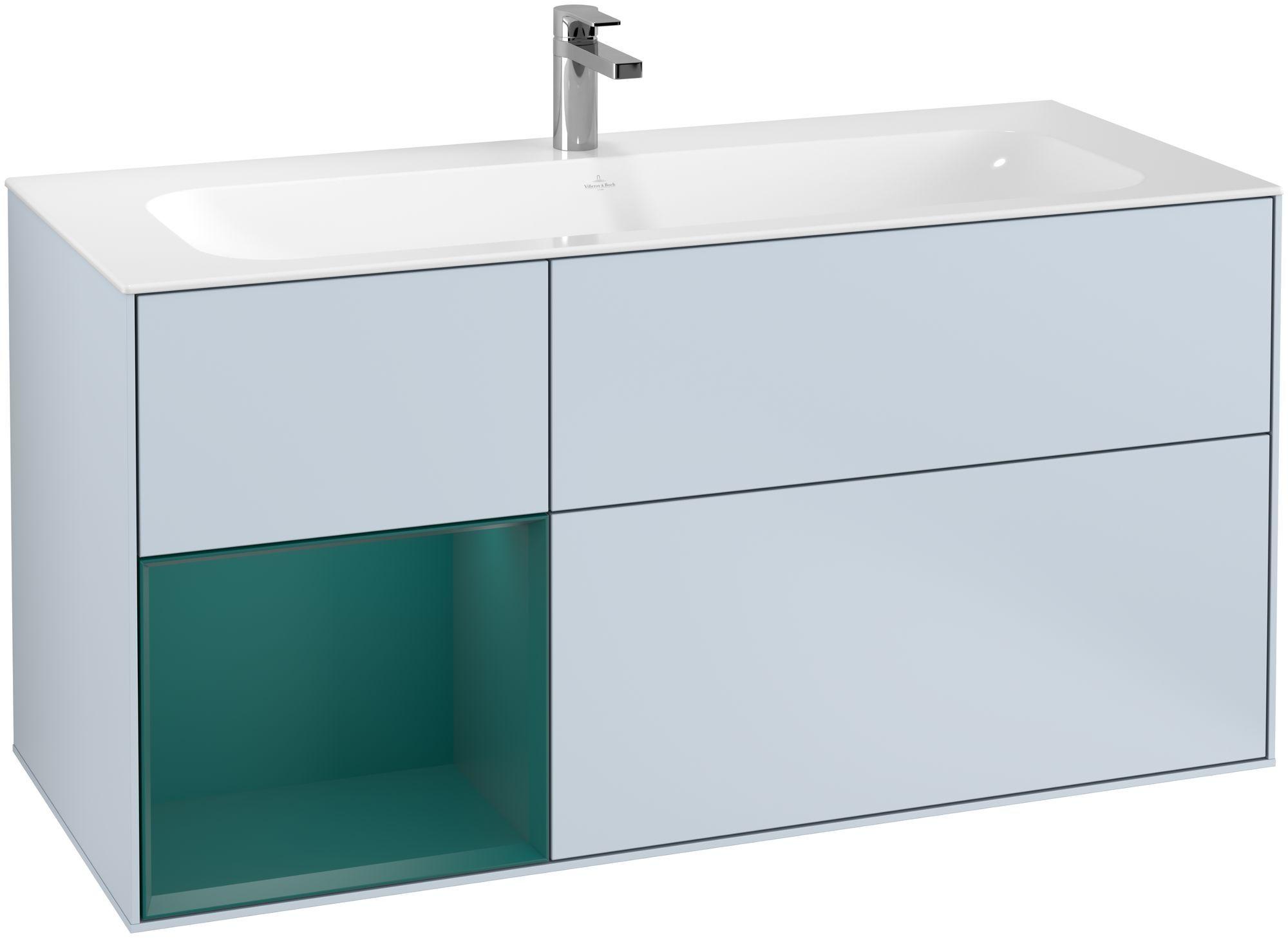 Villeroy & Boch Finion F06 Waschtischunterschrank mit Regalelement 3 Auszüge LED-Beleuchtung B:119,6xH:59,1xT:49,8cm Front, Korpus: Cloud, Regal: Cedar F060GSHA