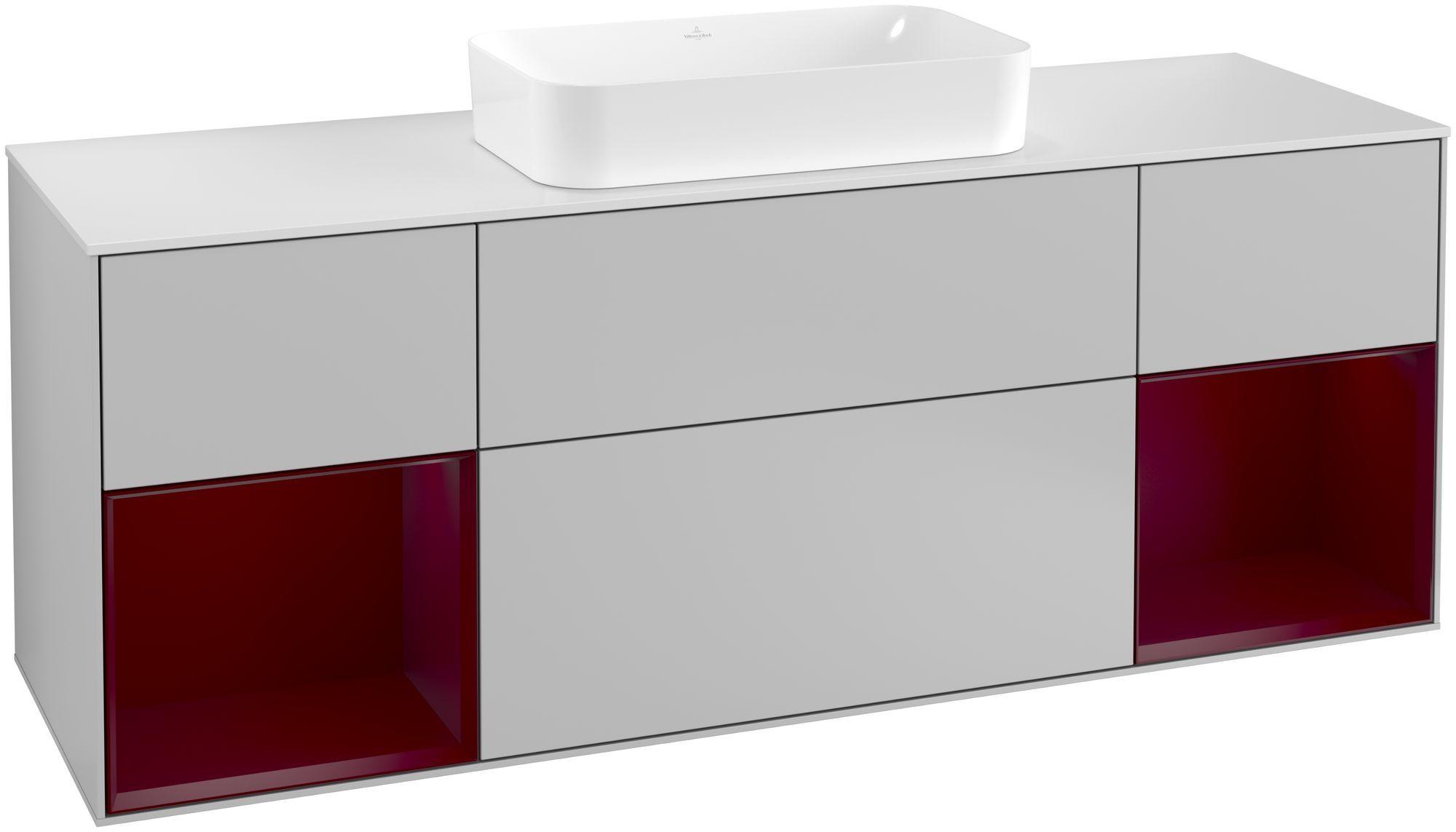 Villeroy & Boch Finion G33 Waschtischunterschrank mit Regalelement 4 Auszüge Waschtisch mittig LED-Beleuchtung B:160xH:60,3xT:50,1cm Front, Korpus: Light Grey Matt, Regal: Peony, Glasplatte: White Matt G331HBGJ