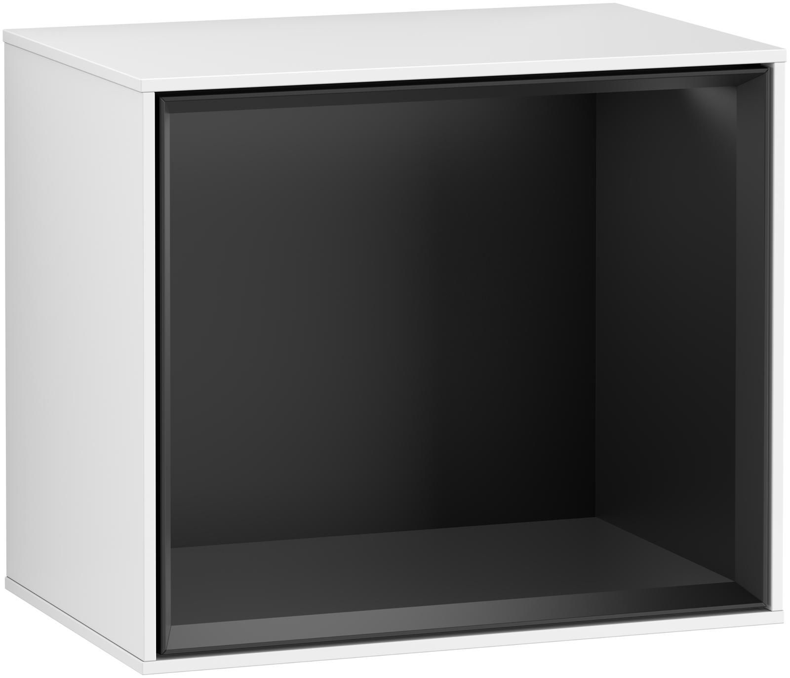 Villeroy & Boch Finion F59 Regalmodul LED-Beleuchtung B:41,8xH:35,6xT:27cm Front, Korpus: Glossy White Lack, Regal: Black Matt Lacquer F590PDGF