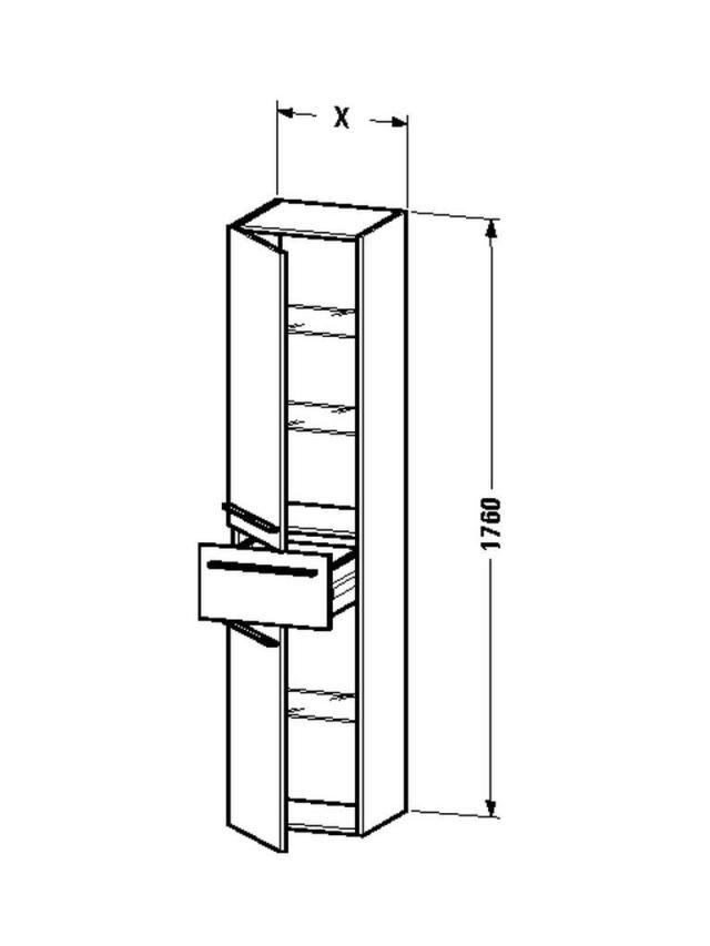 Duravit X-Large Hochschrank B:40xH:176xT:35,8cm 2 Türen Türanschlag links 1 Schubkasten kastanie dunkel XL1131L5353