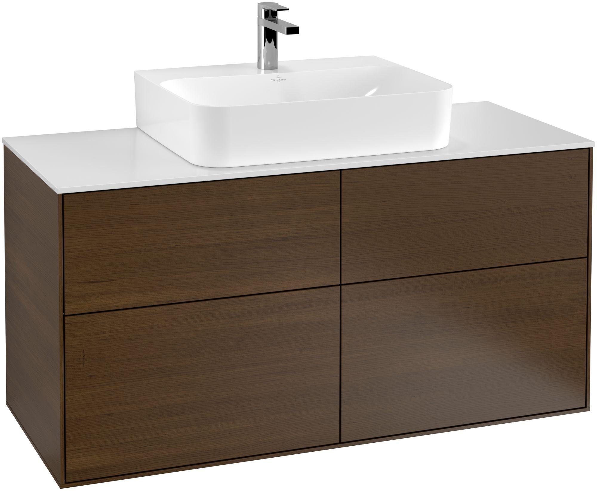 Villeroy & Boch Finion G13 Waschtischunterschrank 4 Auszüge Waschtisch mittig LED-Beleuchtung B:120xH:60,3xT:50,1cm Front, Korpus: Walnut Veneer, Glasplatte: White Matt G13100GN