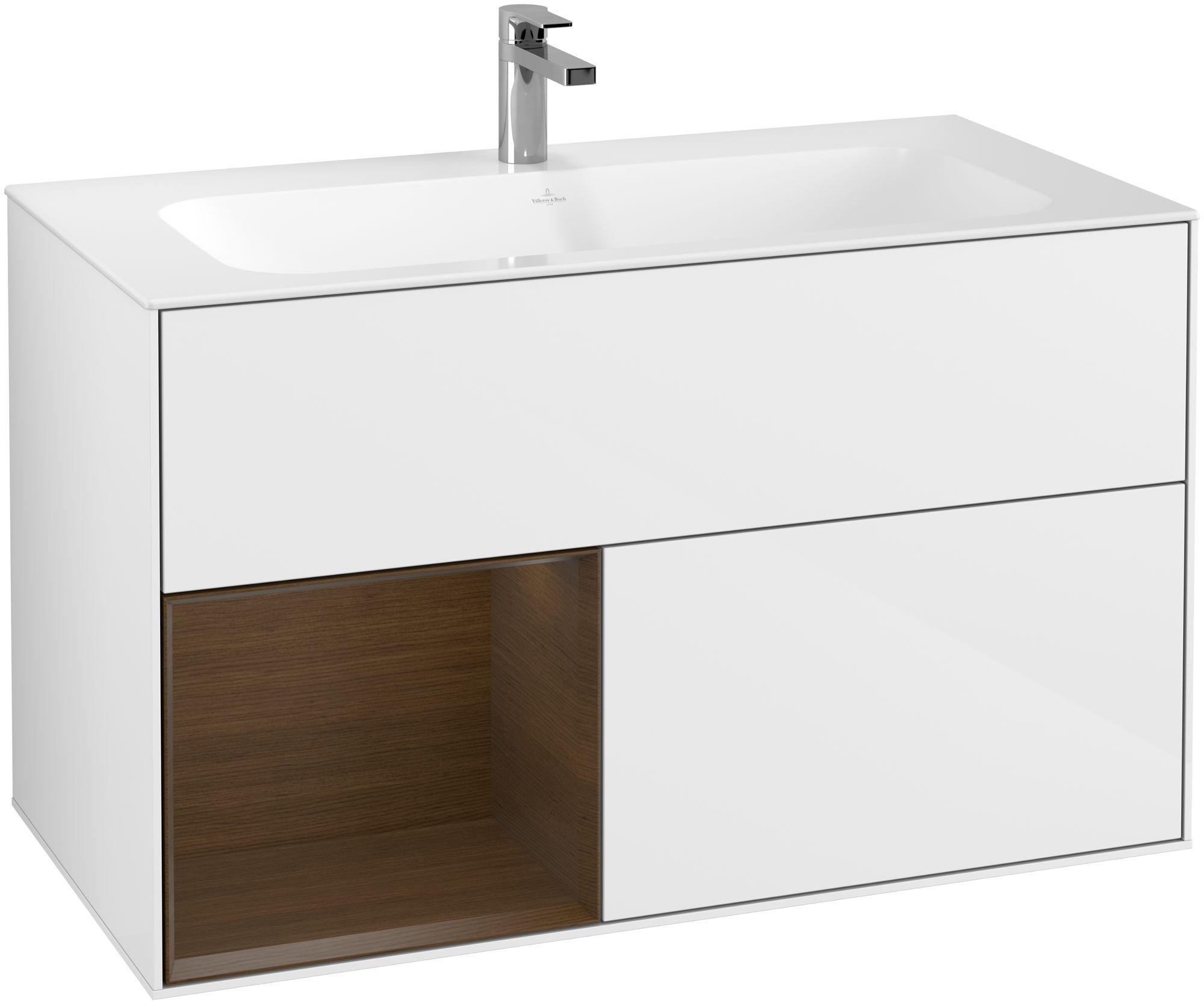Villeroy & Boch Finion F03 Waschtischunterschrank mit Regalelement 2 Auszüge LED-Beleuchtung B:99,6xH:59,1xT:49,8cm Front, Korpus: Glossy White Lack, Regal: Walnut Veneer F030GNGF