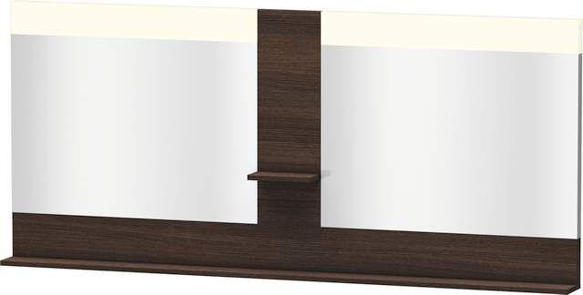 Duravit Vero Spiegel mit LED-Beleuchtung B:180xH:80xT:14,2cm mit Ablagen mittig und unten kastanie dunkel VE736205353