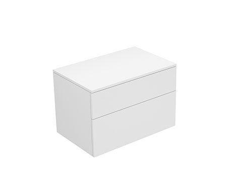 Keuco Edition 400 Sideboard wandhängend 2 Frontauszüge 700 x 472 x 450 mm weiß hochglanz/Glas titan klar 31743960001
