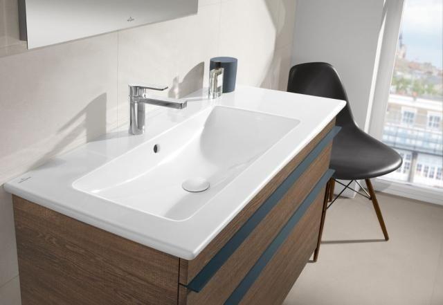 Villeroy & Boch Venticello Möbelwaschtisch B:100xT:50cm ohne Hahnloch mit Überlauf weiß 4134L301