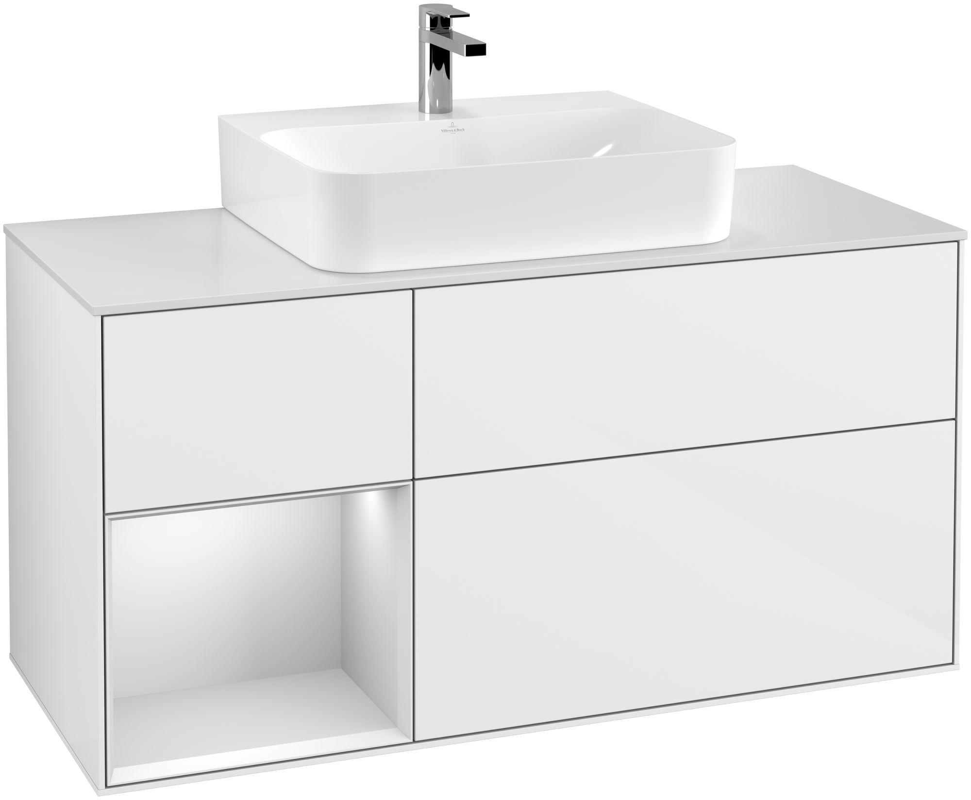 Villeroy & Boch Finion F16 Waschtischunterschrank mit Regalelement 3 Auszüge Waschtisch mittig LED-Beleuchtung B:120xH:60,3xT:50,1cm Front, Korpus: Glossy White Lack, Regal: Weiß Matt Soft Grey, Glasplatte: White Matt F161MTGF