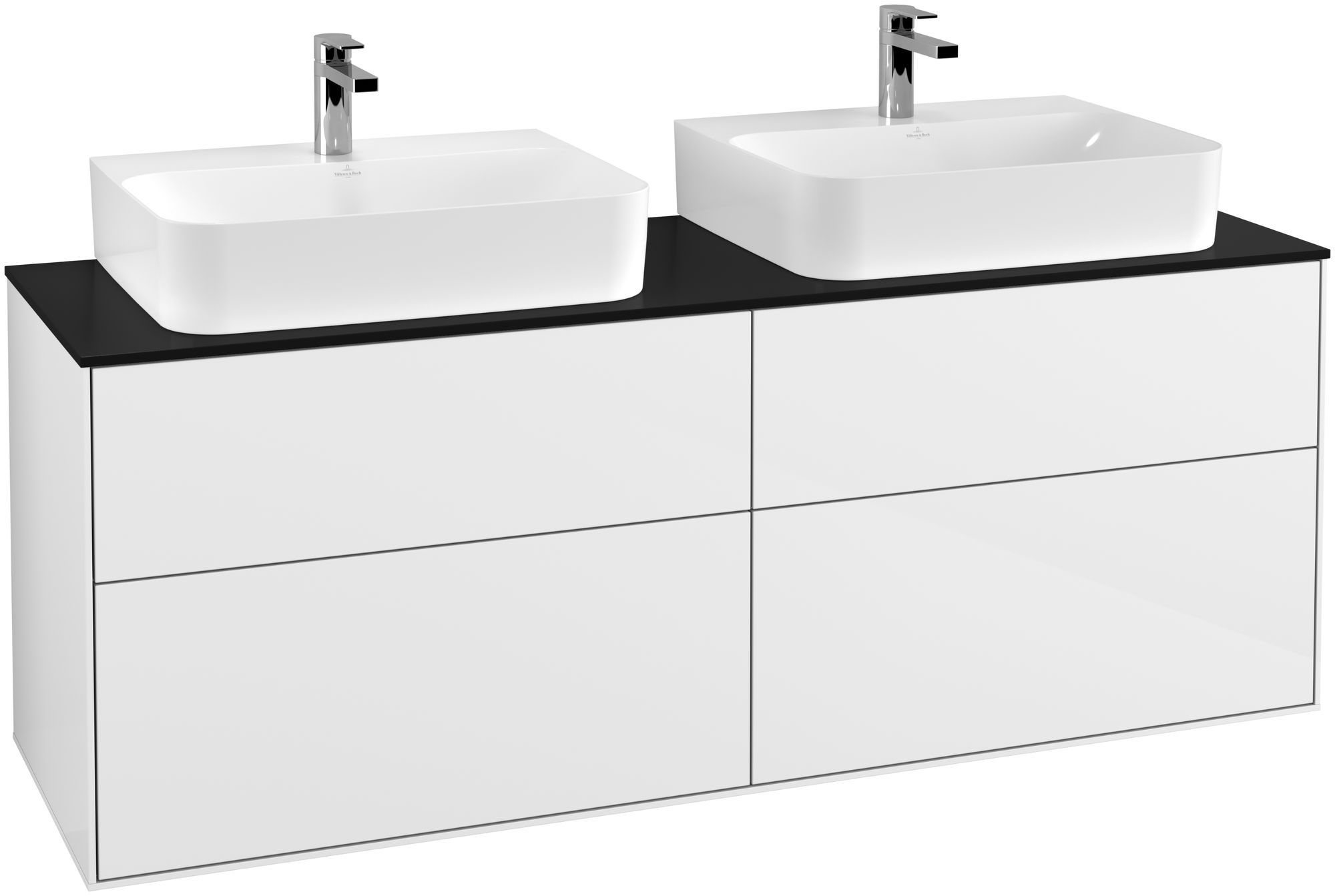 Villeroy & Boch Finion F18 Waschtischunterschrank 4 Auszüge B:160xH:60,3xT:50,1cm Front, Korpus: Glossy White Lack, Glasplatte: Black Matt F18200GF