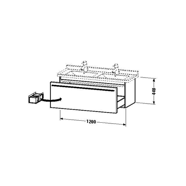 Duravit X-Large Waschtischunterschrank wandhängend B:120xH:44,8xT:46,8 cm mit 1 Auszug schwarz hochglanz XL605904040